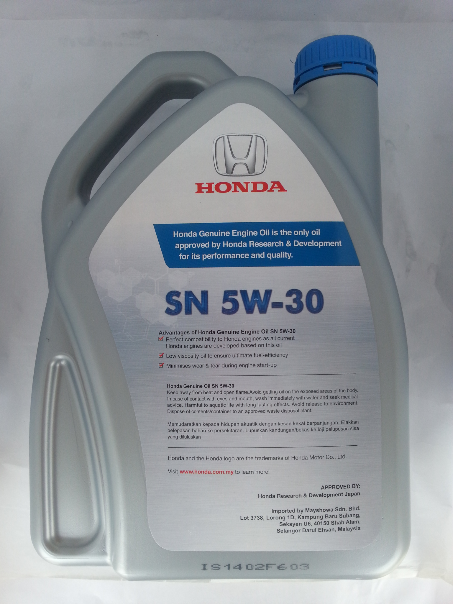 HONDA ENGINE OIL SN 5W-30 SEMI SYNTHETIC (4 LITER)